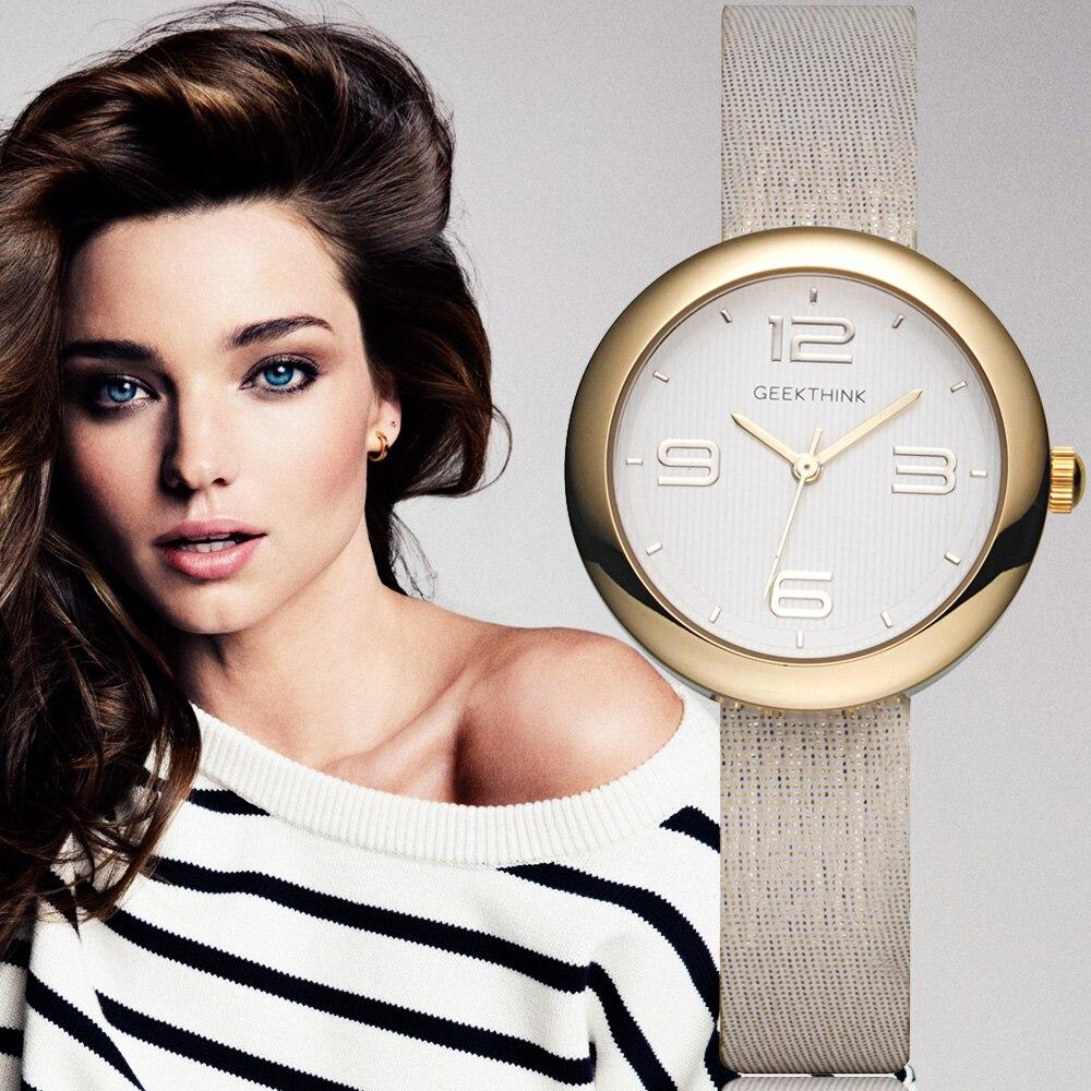 GEEKTHINK egyrészes kvarc órák női arany márka női egyszerű alkalmi bőr pánt karóra lány óra női relogio