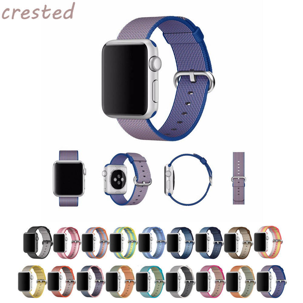 CRESTED Woven Nylon strap band for apple watch 42 mm 38 mm for iwatch 1 2 bracelet & 20mm/22mm fabric nylon watch band plantronics 64336 31 supraplus wideband monaural