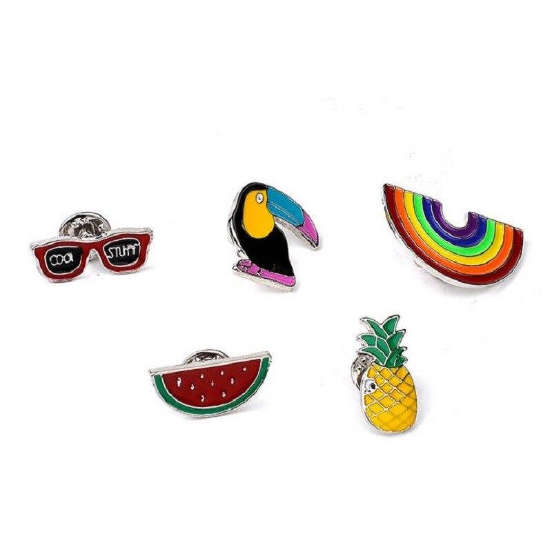 New Cartoon Multi Enamel Pin Woodpecker Pineapple Rainbow