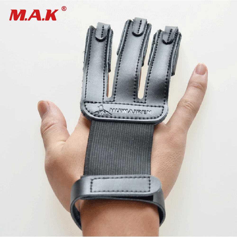 New Black Finger Protection Guard Cow Leather 3 Finger Protect Glove for Archery Targeting Recurve Bow Hunting Shooting