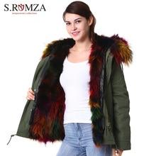 S.ROMZA Large Real Raccoon Fur Parka Coat Women Outwear Detachable Thick Fur Collar Hooded Jacket Winter Woman Coat