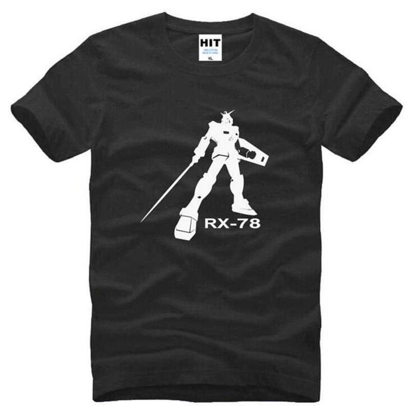 Anime Gundam EXIA RX-78 Impresso T Camisa Homens Manga Curta O Pescoço T-Shirt do Homem do Algodão Aptidão Legal Camiseta Homme camisetas Hombre
