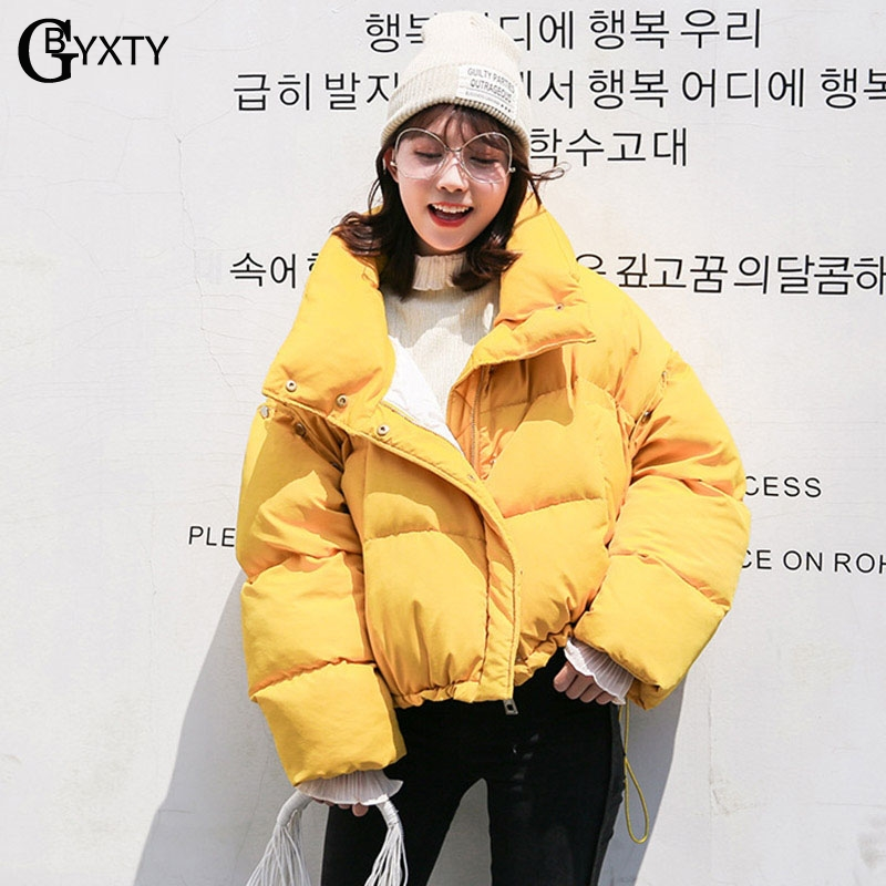 GBYXTY Oversize Feather Puffer Jacket Women Winter Turtleneck Duck Down Jacket and Coat Chic Sleeve Detachable
