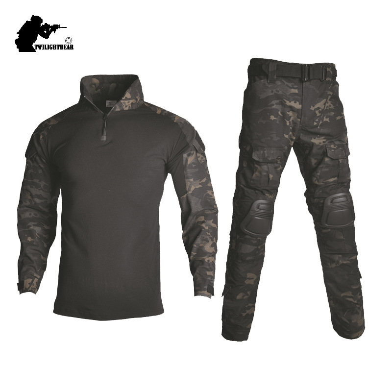 Tactical Camouflage Military Uniform Clothes Suit Men US Army Clothes Military Combat Shirt Cargo Pants With Pads 3XL BY218