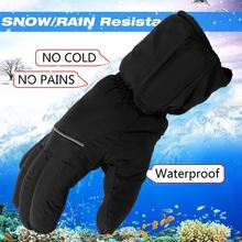 Pair Waterproof Snow Ski Motorbike Winter Warmer Gloves Electric Battery Heated Gloves Bicycle Work Full Finger Gloves