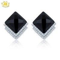 Hutang натуральный черный агат клип серьги Твердые стерлингового серебра 925 тонкий классический корейский стиль ювелирные изделия для женщин ...