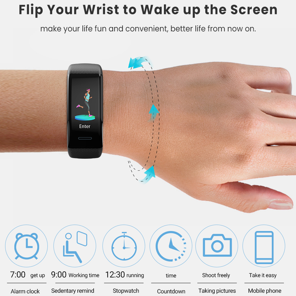 Men Women 1 14 quot IPS OLED Color Smart Wristbands Pedometer Sports Fitness Bracelet Blood Pressure Heart Rate Monitor Android IOS in Smart Wristbands from Consumer Electronics