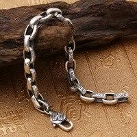 Pure Solid Silver 925 Tibetan Letters Cool Mens Bracelet Vintage Simple Chain Bracelet Sterling Silver Mens Jewelry Thai Silver