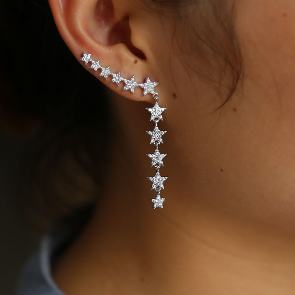 Fashion five Star Earring cz paved luxury Vintage Geometric Star Disco Climber earring for Women Brincos Birthday Gifts jewelry