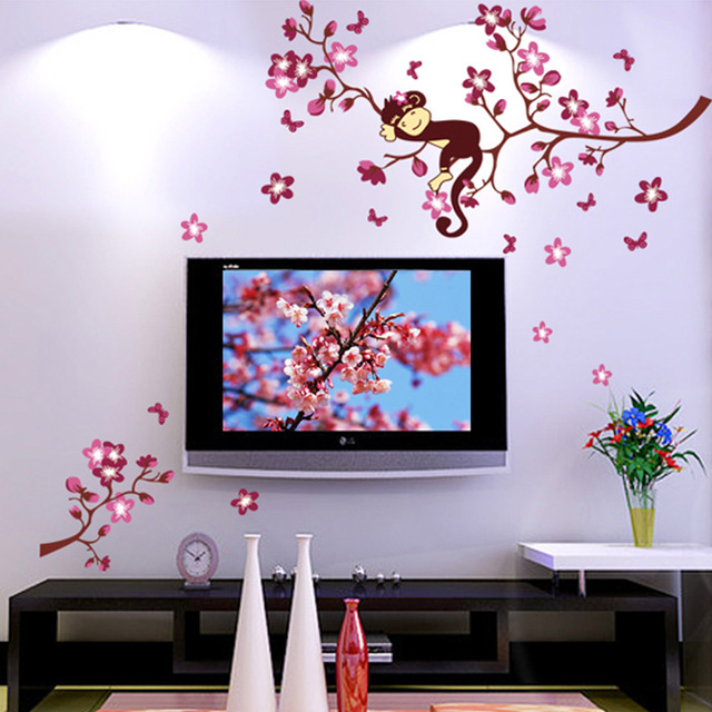DIY Beautiful Spring Landscape Monkey Peach Flower Wall Stickers Sticke Movable Art Deco Mural Wallpaper