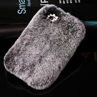 Luxury Bling Real Rabbit Fur Rhinestone Case For Samsung Galaxy S7 S7 Edge Phone Case Cover