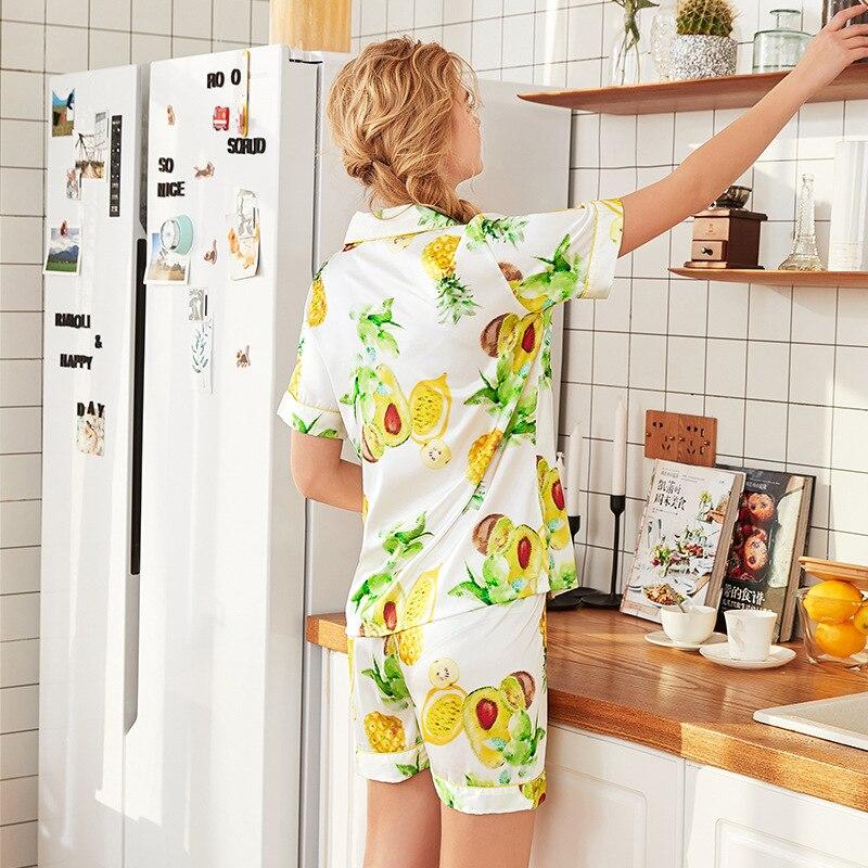 Tony Candice Summer Printing Pattern Women Pajama Set Sexy Lingerie Rayon Sleepwear Long Sleeve Trousers Two Paper Suit in Pajama Sets from Underwear Sleepwears