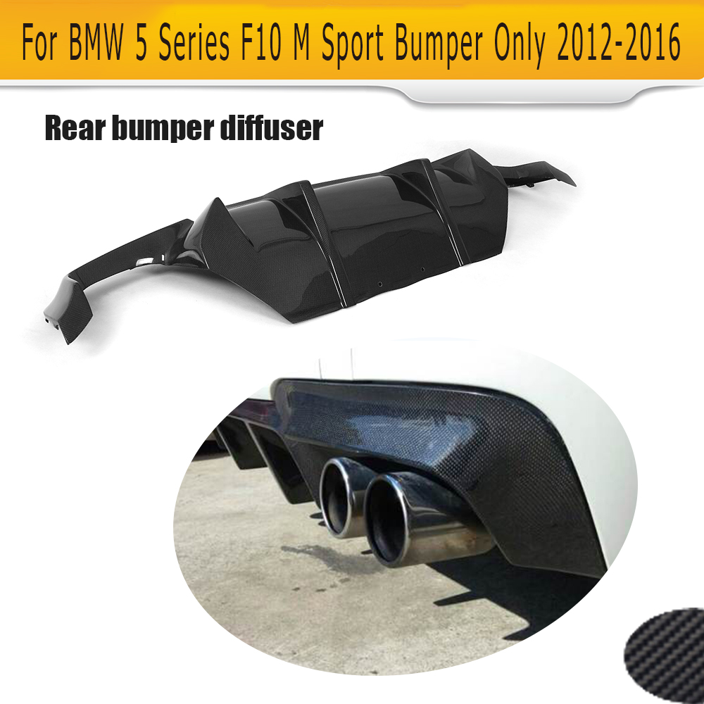 5 Series Carbon fiber rear bumper Lip Spoiler diffuser for BMW F10 M Sport Sedan 2012-2016 D Style Grey FRP dual exhaust two out for 11 12 13 14 15 bmw 5 series f10 sedan trunk spoiler oem painted match a89 imperial blue