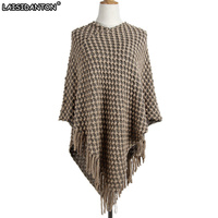 LAISIDANTON Women Batwing Cape Poncho Knit Top Ladies Pullover Sweater Coat Outwear Jacket Hot V Neck