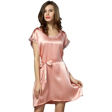 100% Silk Satin Women Nightgown Short Sleeves Nightdress Solid Color Ladies Sleepwear with the Waistband sp0041