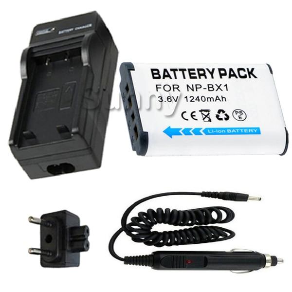 Batterie + Chargeur pour Sony NP-BX1, NP BX1, NPBX1, NP-BX1/M8 Rechargeable Au Lithium Ion X Type 1240 mah