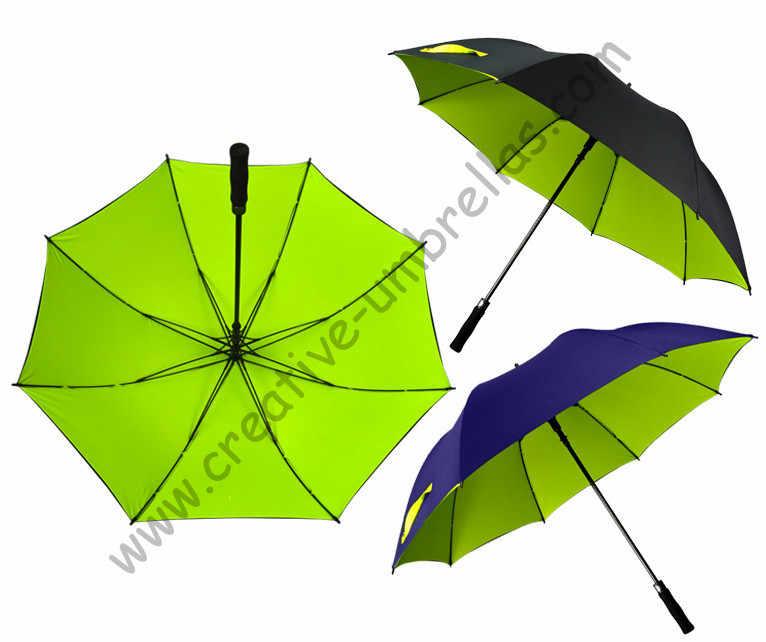 5 pz/lotto ombrello da golf visibile doppi strati tessuto telaio in fibra di vetro, auto aperta Tessuto di Seta Naturale, anti static, antivento, assortiti baldacchino
