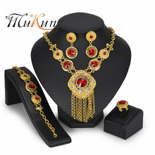 MUKUN Dubai gold-colorful Luxury Jewelry Sets Brand nigerian woman accessories wedding jewelry set Fashion statement