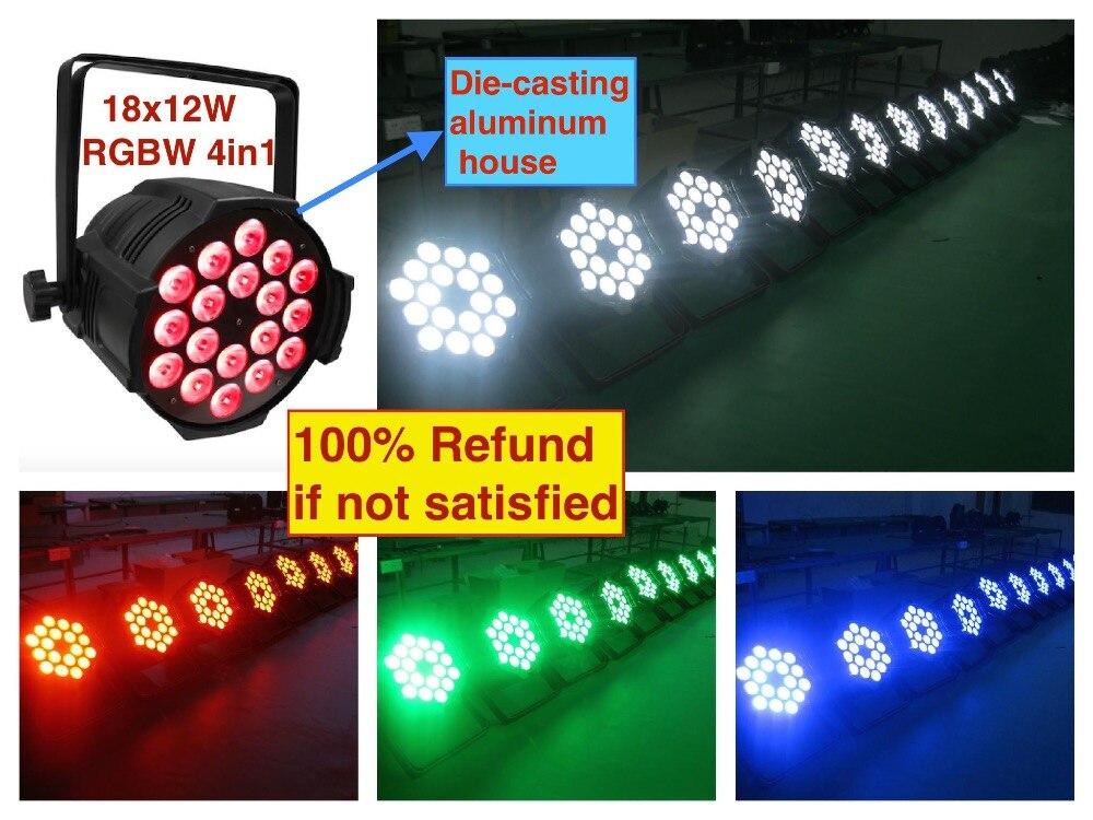 8pcs/lot, LED par 18x12W RGBW 4in1 Quad Light Die Casting Aluminum party led spotlight dj projector led wash lighting stage dmx
