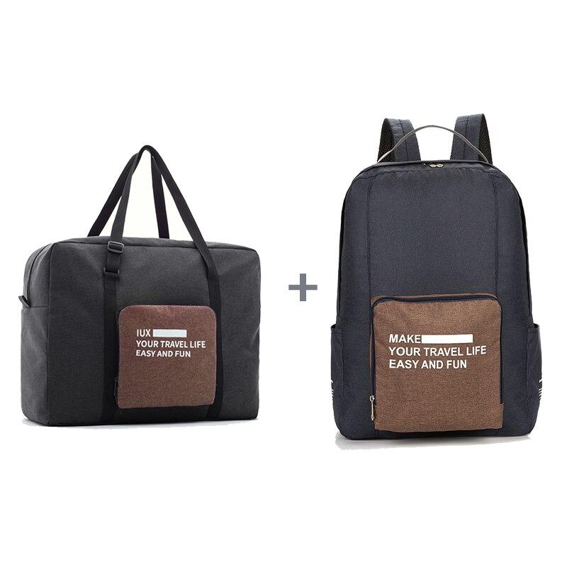 Мужские дорожные сумки, водонепроницаемая нейлоновая складная сумка для ноутбука, вместительная сумка для багажа, дорожные сумки, портативные женские сумки - Цвет: black