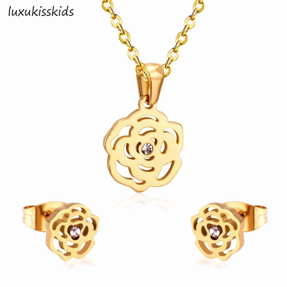 LUXUKISSKIDS Fashion Necklace Earring Sets Stainless Steel Gold Silver Color Flower Pendant With Free 45cm Chain Necklaces