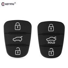 KEYYOU-funda para mando a distancia con botón de 10x3, almohadilla de goma para Hyundai I10, I20, I30, IX35, Kia K2, K5, Rio, Sportage