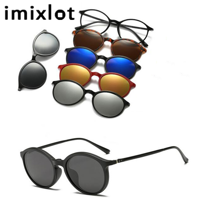 5 Lens Magnet Sunglasses Clip Mirrored On Glasses Men Polarized Prescription
