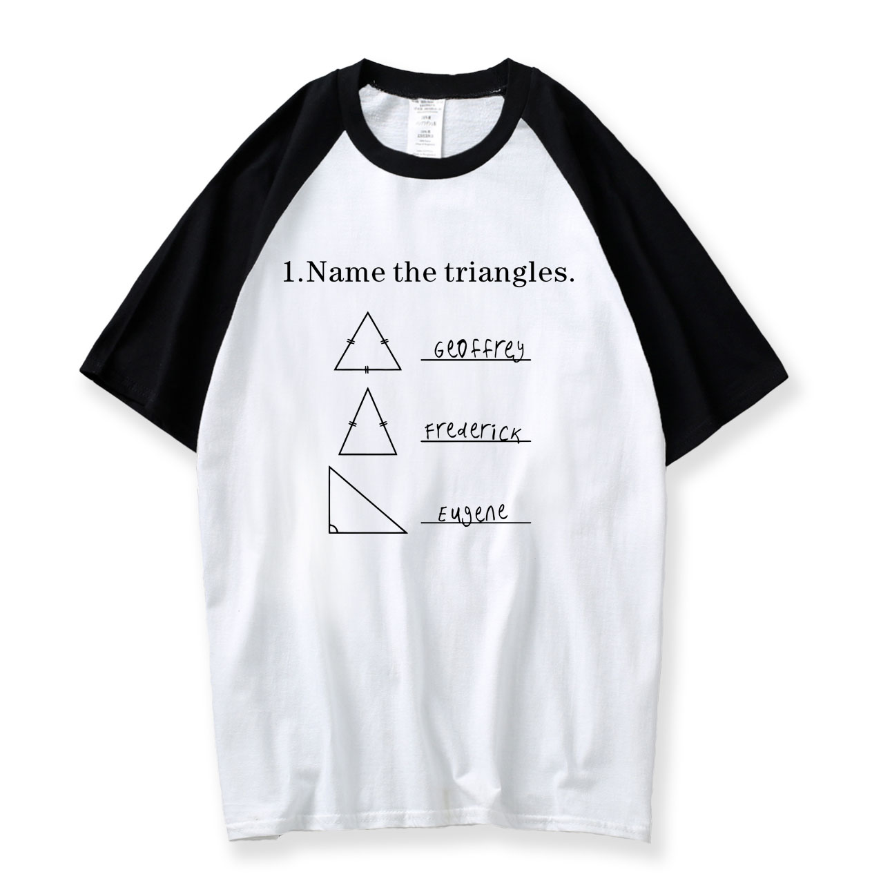 Name The Triangles Funny Math T Shirts Sarcasm Novelty I Love Math Tee For Guys 2018 Summer Raglan Shirt Men Cotton Mens T-Shirt
