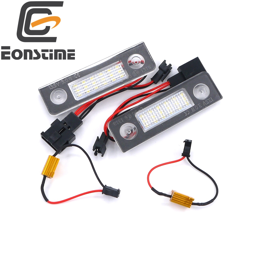 Eonstime 2PCS 18 LED License Plate Light Lamp for Skoda Octavia II Pre-facelift Facelifted 2003-2012 Roomster 5J 2006-2010 mora ice easy 20443 150mm