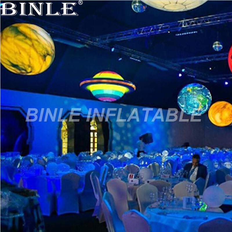 Rainbow color hanging giant inflatable Saturn with LED lights solar system nine planets balloon for party decorationRainbow color hanging giant inflatable Saturn with LED lights solar system nine planets balloon for party decoration