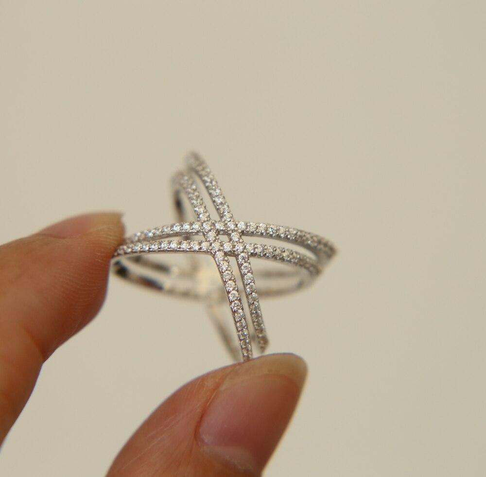 Free Shipping Fashion prong setting AAA clear cubic zirconia double line cross Women wedding finger ring 925 silver