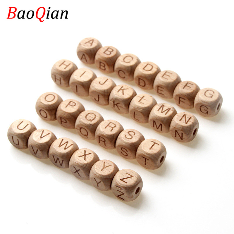 Alphabet Beads Necklace Jewelry Square Wooden Natural 12MM Toys-Making Beech for DIY