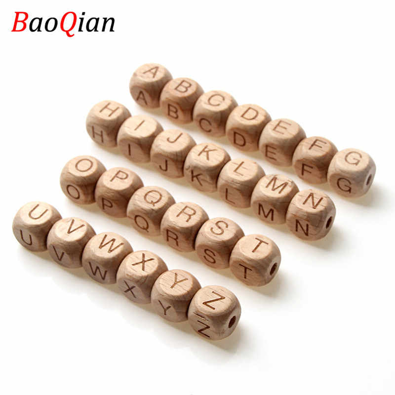 20Pcs Square Alphabet Beads Natural Beech Wooden Letter Beads For Jewelry Toys Making DIY Baby Necklace 12MM
