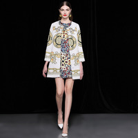 2018 Autumn   Trench   Coat for Women Elegant Designer Baroque Print Beading Vintage Jacquard Coats Long   Trench   Winter Outerwear