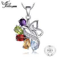 JewelryPalace Butterfly 2 4ct Amethysts Garnets Peridots Citrines Blue Topazs 925 Sterling Silver Pendant Necklace 45cm