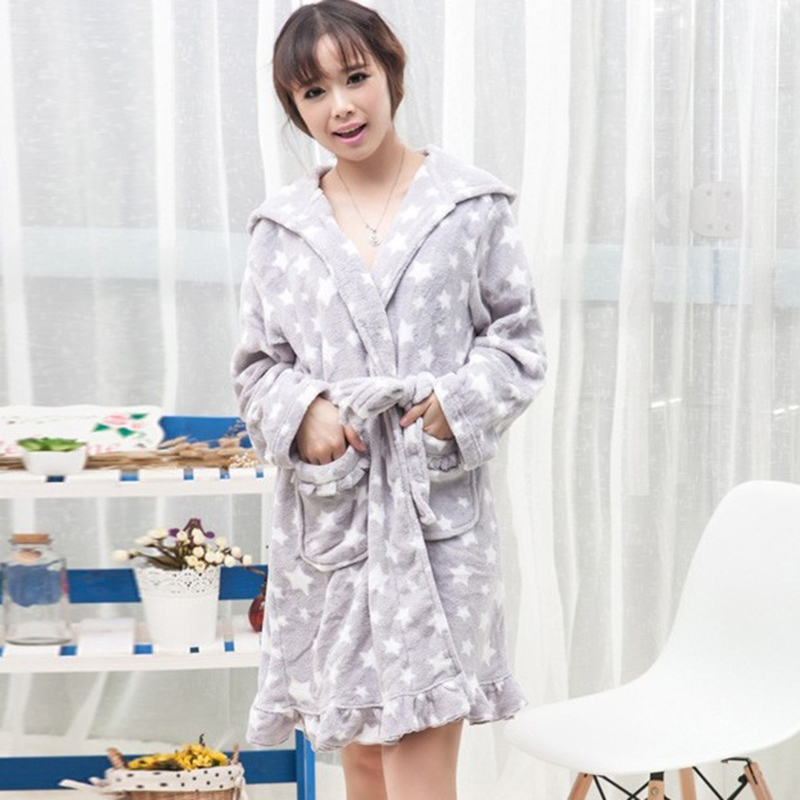 2018 winter thickening flannel lovers bathrobe women coral fleece cotton  home warm robe sexy gown long sleeve sleepwear lounge-in Robes from  Underwear ... 0cf2a01bf