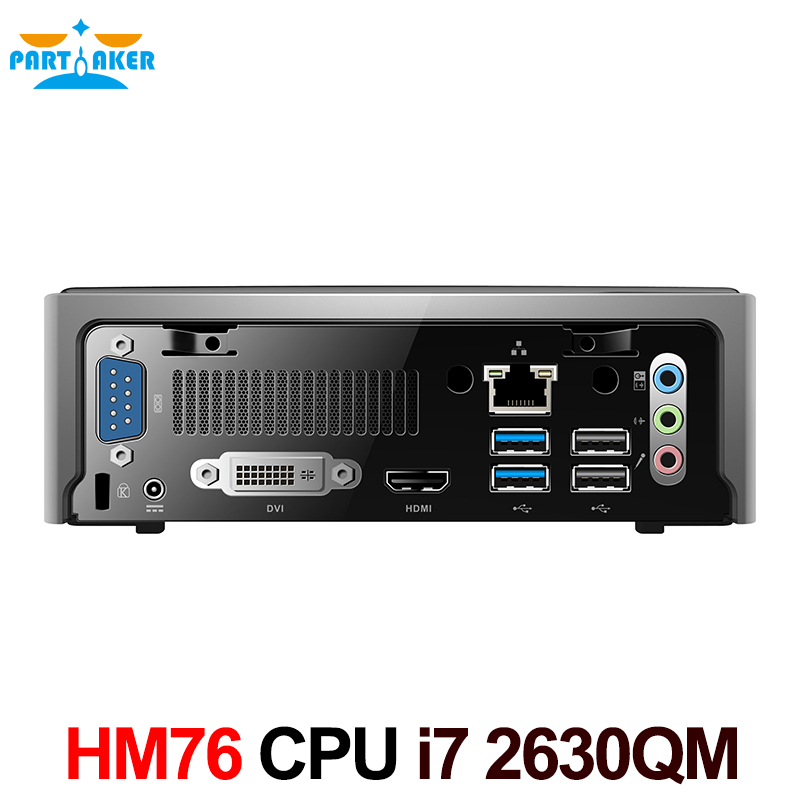 Mini PC Windows Desktop Computer with intel quad-core i7 2630QM 8 threads HM76 Express Slot type FCPGA988 4G RAM 128G SSD