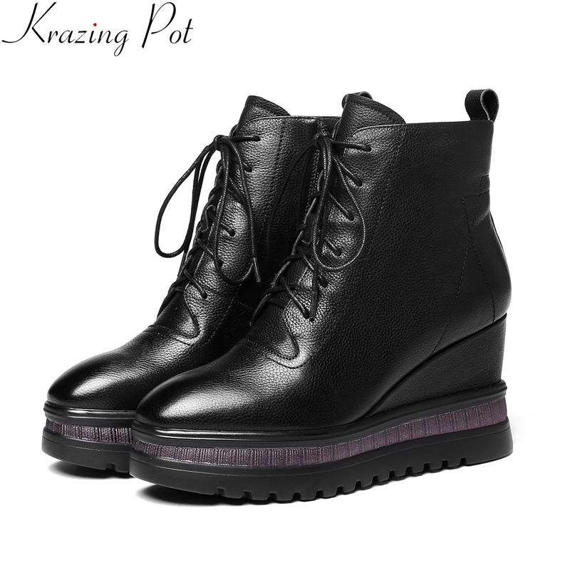 Krazing Pot 2018 big size cow leather wedge women ankle boots platform concise round toe zipper keep warm winter shoes L7f7 evgeniy gorbachev returning to