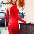 Bqueen 2017 nueva llegada cremallera roja de manga larga vendaje winter dress mitad de la longitud