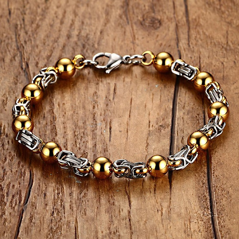 Mens Womans Two Tone Stainless Steel Beads Intricate Byzantine Bracelet for Biker Men Wristband Midwest Jewelry 9 inch