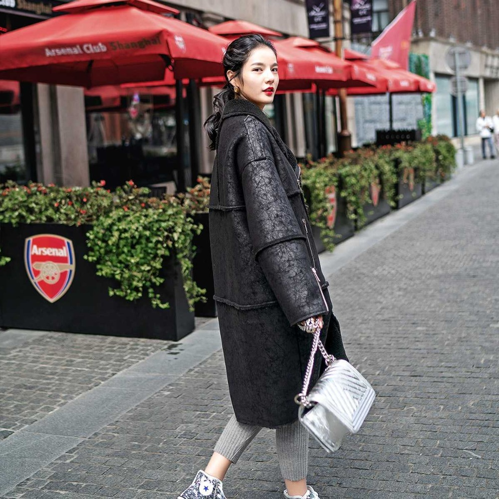 Hiver En Veste Nouvelle Vêtements Pu Manteaux Punk Longue Femmes Cuir Style Noir Black Agneau Fourrure Arrivée Bronzage Manteau 2019 Fausse Laine rrWFABd