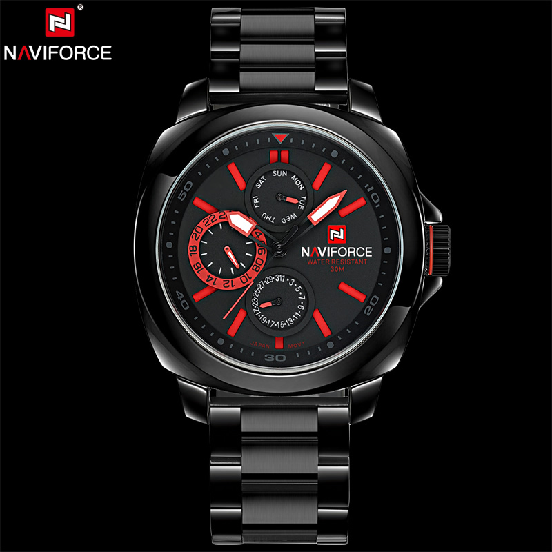 ФОТО NAVIFORCE Original Luxury Brand Stainless Steel Quartz Watch Men Date Clock Military Waterproof Wristwatch Relogio Masculino