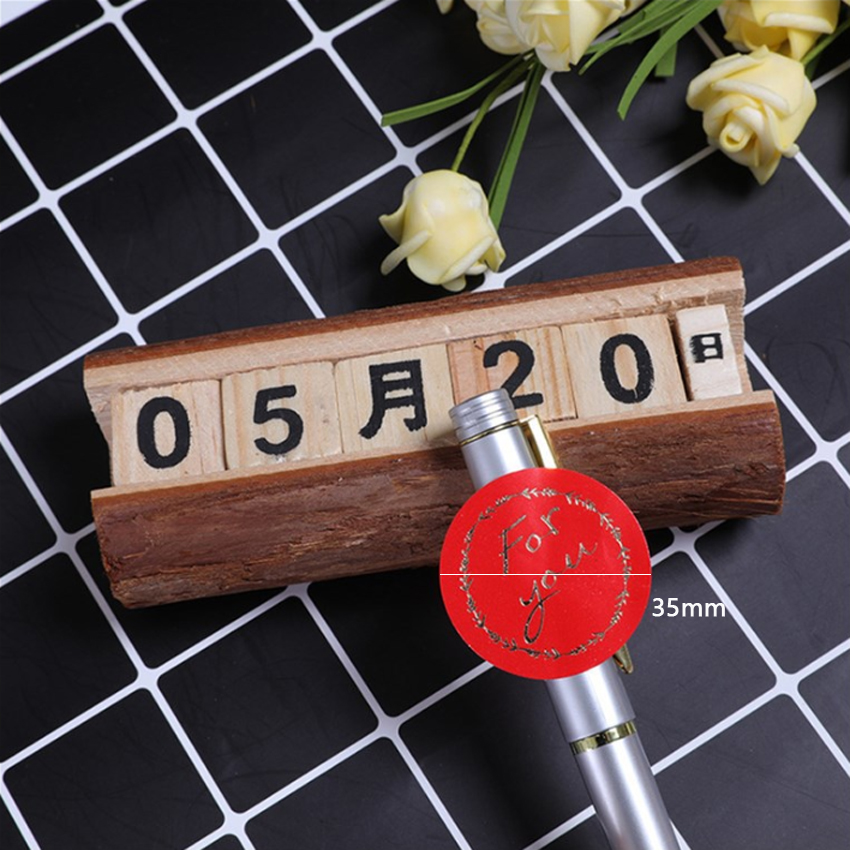 Купить с кэшбэком 120pcs/lot Cute Red For you bronzing garland round self-adhesive sealing  Label Stickers Gift Bag Candy Box Decorate