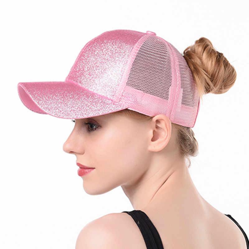 5f836a2ba Drop Shipping Glitter Ponytail Baseball Cap Women Snapback Hat Summer Messy  Bun Mesh Hats Casual Adjustable Solid Caps 2019