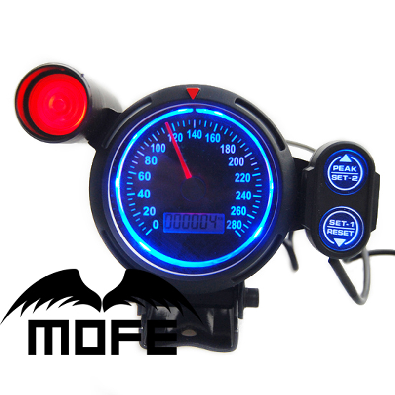 ФОТО MOFE SPECIAL OFFER Original Logo Blue LED LCD 80MM MPH Gauge Speedometer Car With Red Shift Light