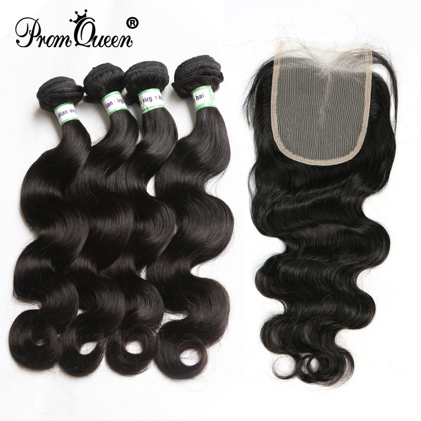 Rucycat Brazilian Virgin Hiar Bundles With 4x4 Lace Frontal Closure Body Wave Hair Pre Plucked Hairline For BlacK Woman