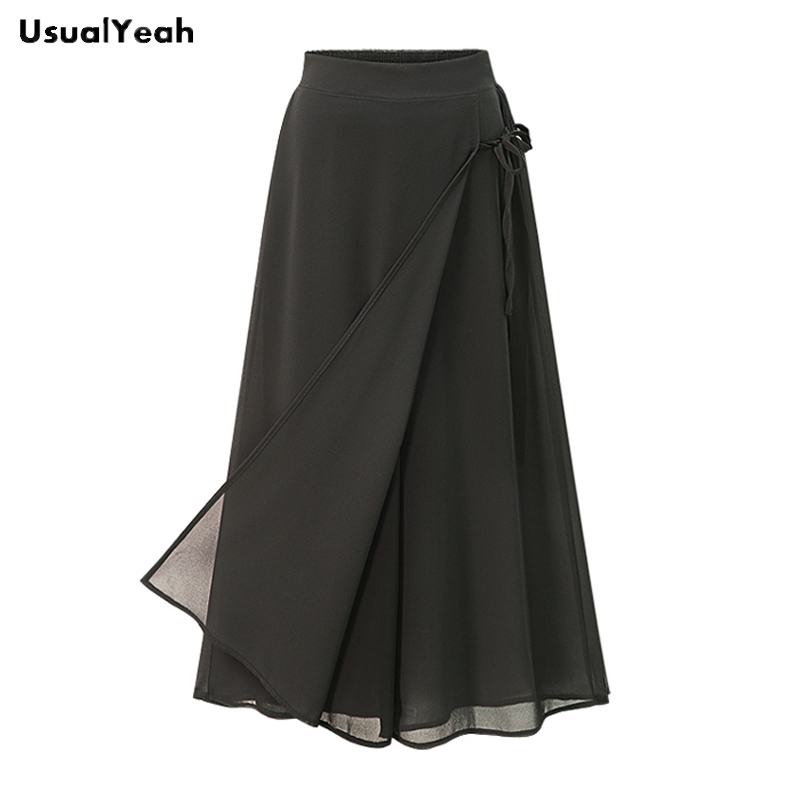 UsualYeah Women New Fashion Black Chiffon Loose   Wide     Leg     Pants   Plus Size Elastic Waist Calf-Length Culottes Divided Skirt XL 5XL