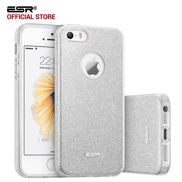 size 40 4bbcf 9ad3d US $4.61 29% OFF|Case for iphone SE, ESR Hybrid three layer case Ultra thin  Light Weight Girl Fashion Bling Shining Cover Case for iphone 5s SE 5-in ...