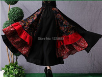 New Year 2015 Hot Sale Black And Red Long Belly Dance Skirt Gypsy Clothing Women Adult
