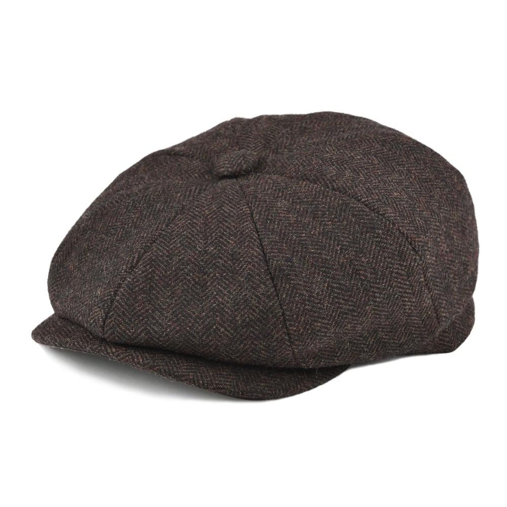 BOTVELA Wool Tweed Newsboy Cap Herringbone Men